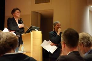 Lisa Kuitert (Universiteit van Amsterdam) en Jan Bos (Koninklijke Bibliotheek)